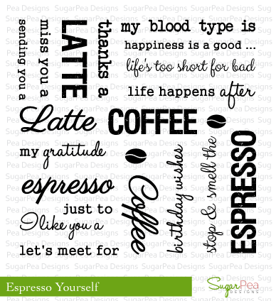 SugarPea Designs ESPRESSO YOURSELF Clear Stamp Set SPD00029