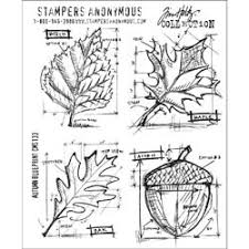 Tim Holtz Cling Rubber Stamps AUTUMN BLUEPRINT CMS133