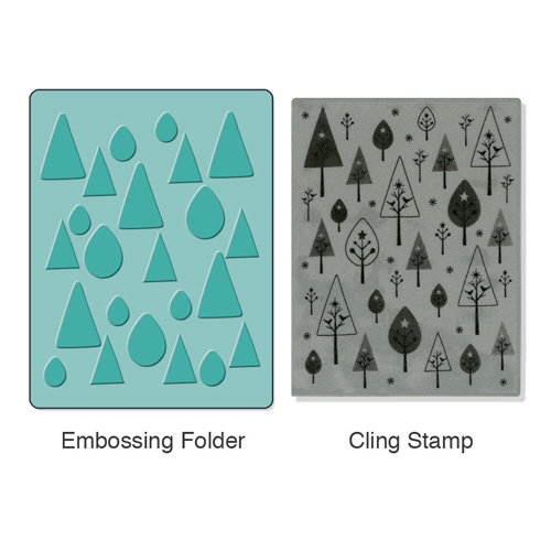 Sizzix - Stamp and Emboss - Hero Arts - Embossing Folder and Rubber Stamp - Birds 'n' Trees Set