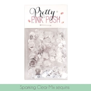Pretty Pink Posh Sequins,  Sparkling Clear Mix (4mm, 6mm, 8mm &10mm )