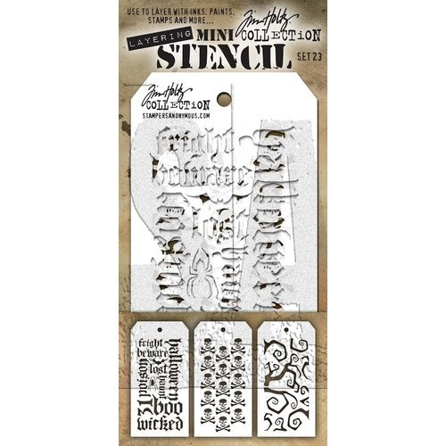 Stampers Anonymous - Tim Holtz - Layering Stencil - Mini Set 23