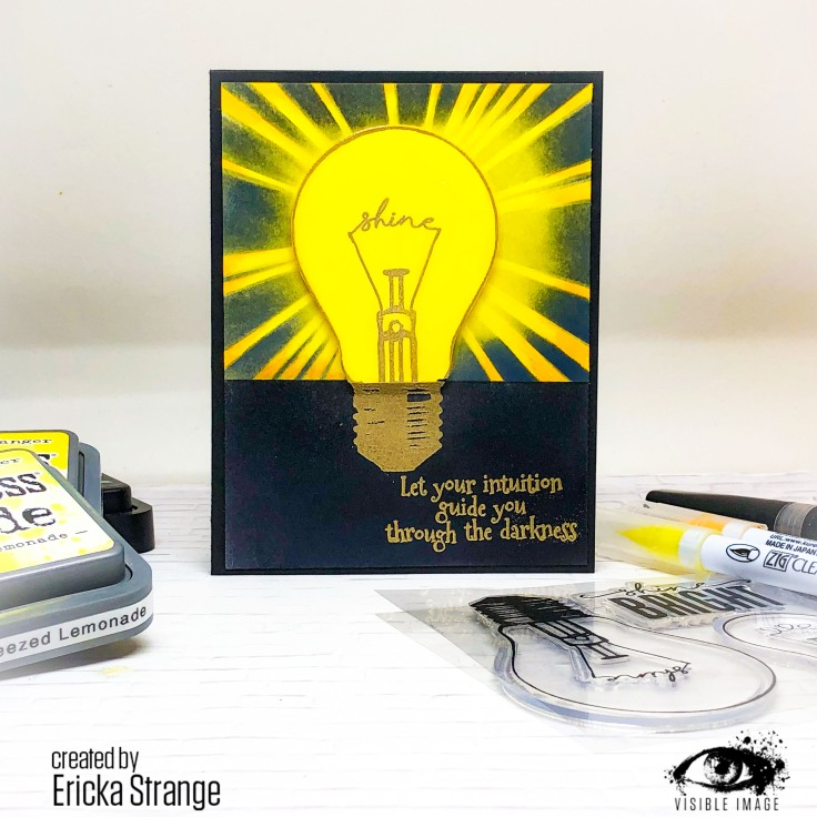 lightbulb card | stamp | let your intuition guide you