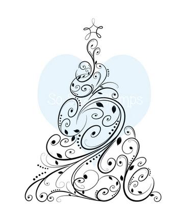 Crackerbox & Suzy Stamps - Fancy Swirl Christmas Tree