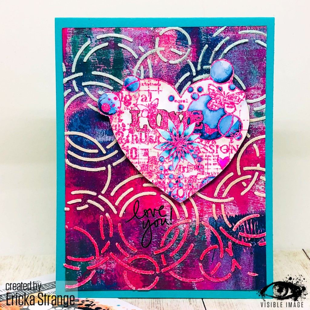 valentine card | mixed media | stencil | heart stamp