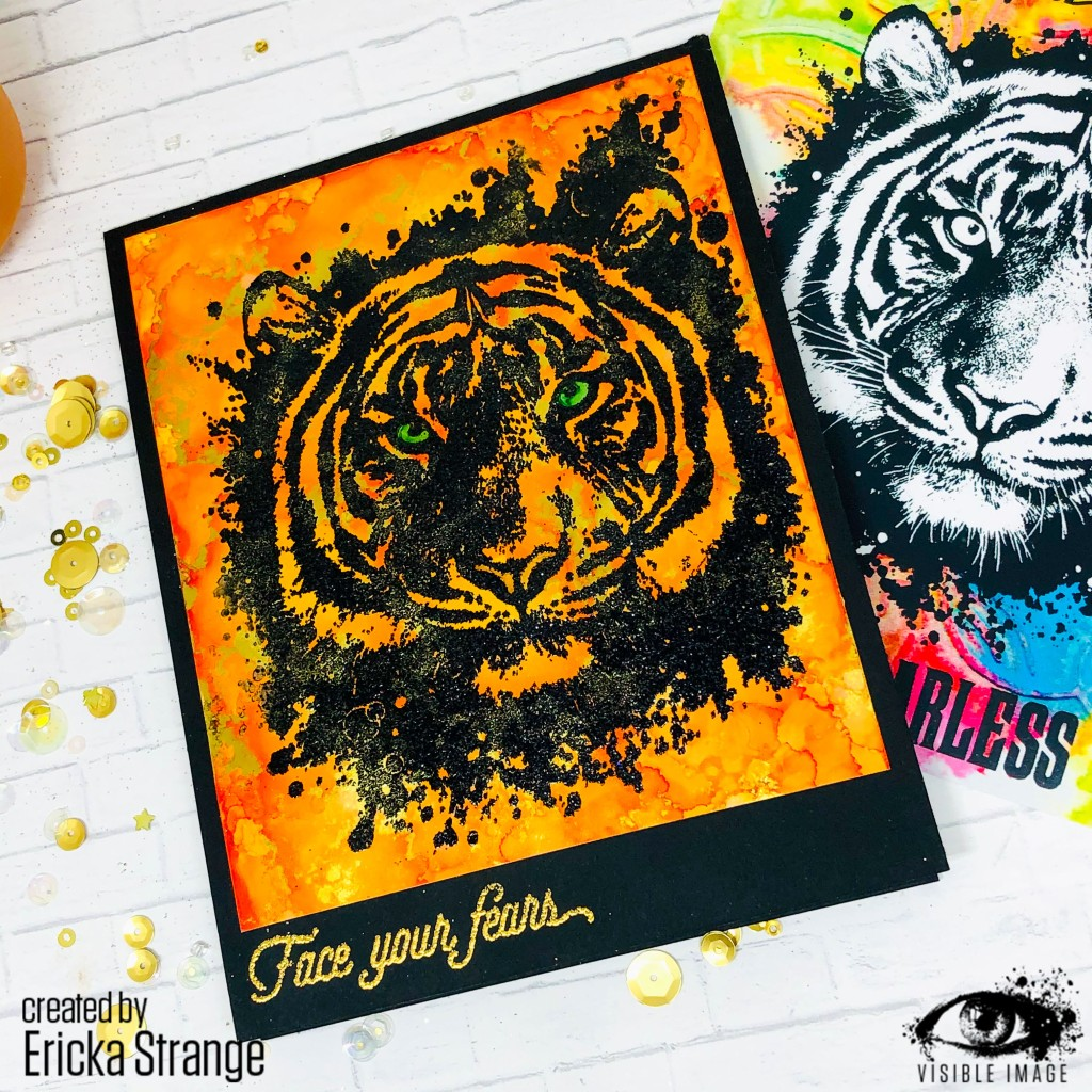 tiger stamp | embossed | handmade card