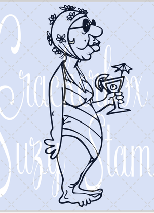 Crackerbox & Suzy Stamps - Clara with Cocktail Lg